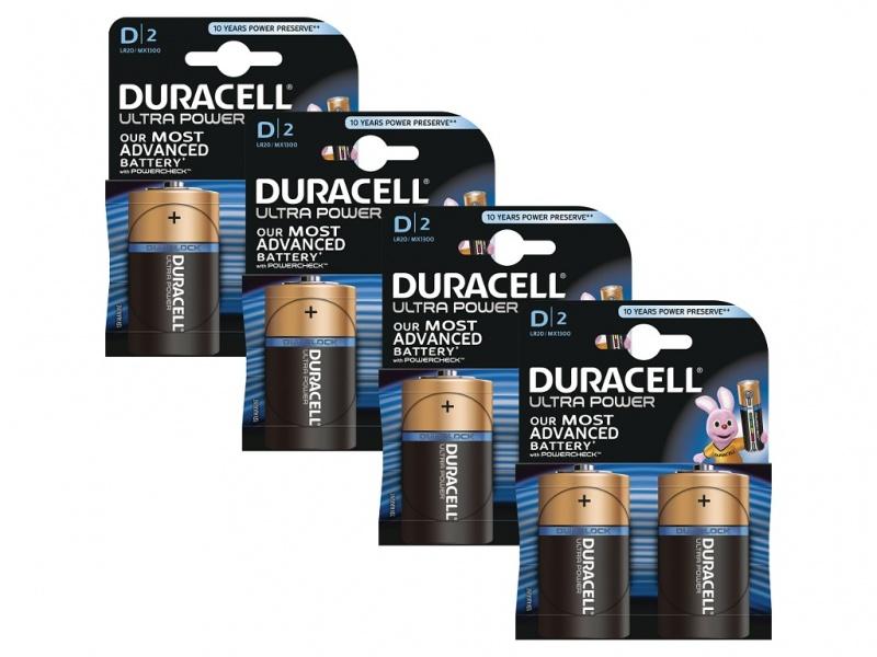 Baterie Duracell Ultra Power MX1300 D (Pachet 4 x 2)
