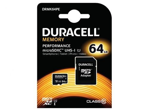 Kit Micro SDXC Duracell cu Adaptor SD 64GB/Clasa 10