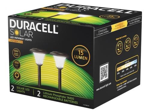 Pachet 2 Lampi Gradina Duracell LED Solare 15 Lumeni