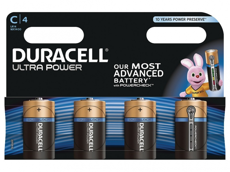 Baterie Duracell Ultra Power Marime C Pachet de 4