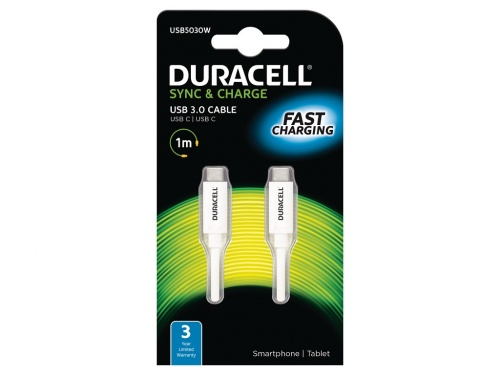 Cablu Duracell USB Tip-C to Type-C (Alb)